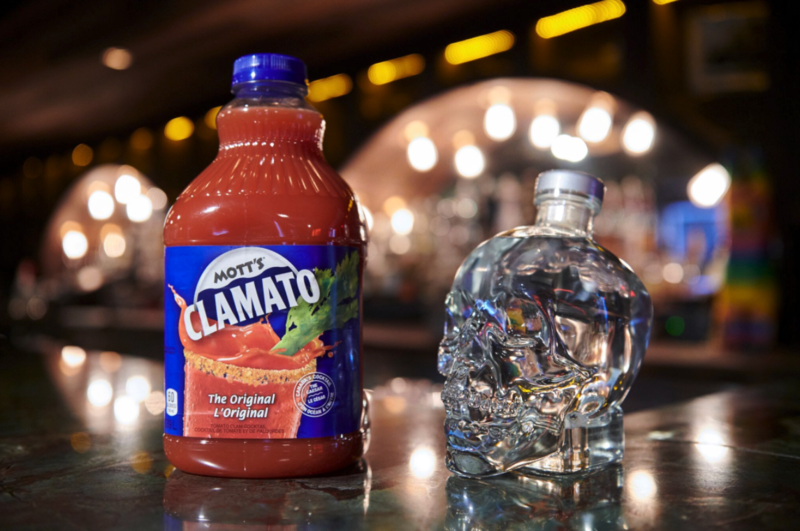 Mott's Clamato Caesar and Crystal Head Vodka